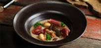 Cinco Jotas<i>&nbsp;Ibérico&nbsp;</i>Ham Soup with Chestnuts, Winter Mushrooms and Fresh Kale
