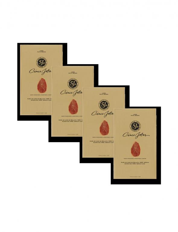 Set de loncheados de Lomo Cinco Jotas 80g con un sobre de regalo