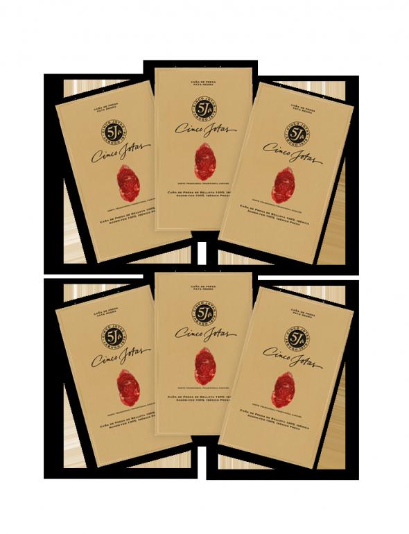 Set de loncheados de Presa Cinco Jotas 80g con un sobre de regalo